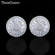 ThreeGraces Fashion Famous Brand Ladies CZ Jewelry Full Paved Cubic Zirconia Stone Big Round Stud Earrings For Women ER184