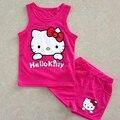 2015 Quente de Verão ternos das meninas Olá kitty KT Gato dos desenhos animados do bebê terno-de manga curta T-shirt + shorts Set meninas do bebê crianças criança pano