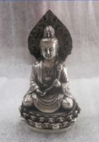 The ancient Chinese sculpture silver plated copper guanyin lotus carving buddha statue metal handicraft