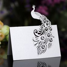 50pcs Peacock Laser Cut Table Name Place Cards Pearlescent Lace Favor Message Setting Card Wedding Birthday Party Supplies
