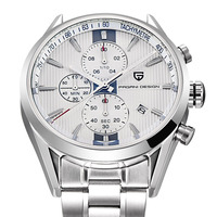 Pagani Design Chronograph Quartz watch Men Stainless Steel Band Silver Watches Men Multi function Sports Wristwatch Reloj Hombre