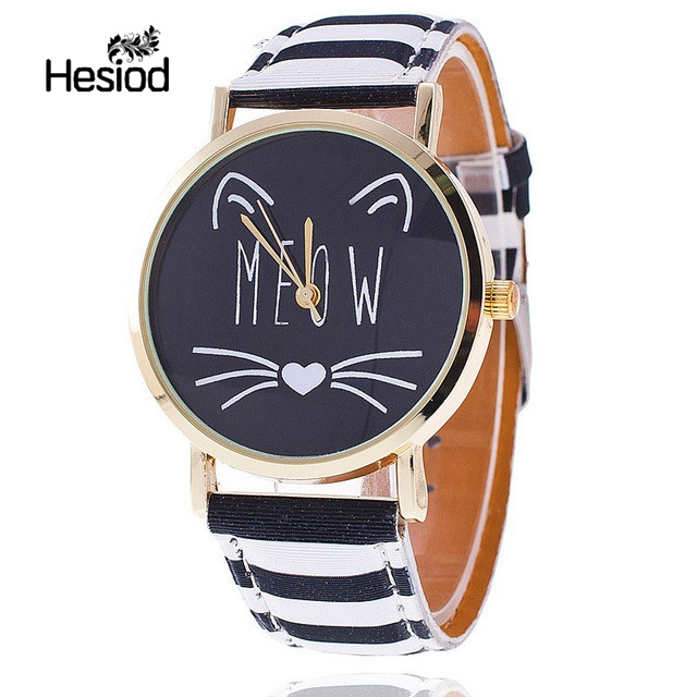 Hesiod Fashion Lovely Casual Smile Cute Cat Watch Women Wristwatch Leopard Quartz Watch Relogio Feminino Wholesale