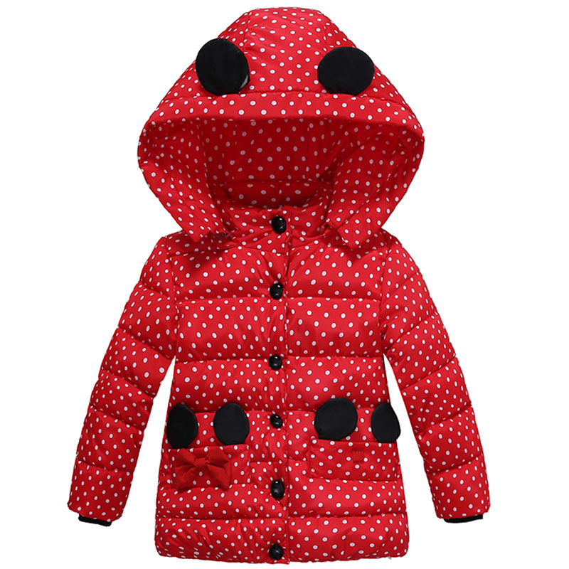 Baby Girls Autumn Winter Coats Kids Clothes Children Clothing Cotton Padded Infant Minnie Dot Warm Outerwear Jackets For Girls scratch kids girls outerwear denim jeans jackets for children embroidery flower baby girl coats infant autumn clothing outfits