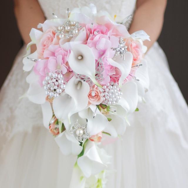 buy iffo simulation roses calla lilies diamond studded flowers pearls. Black Bedroom Furniture Sets. Home Design Ideas