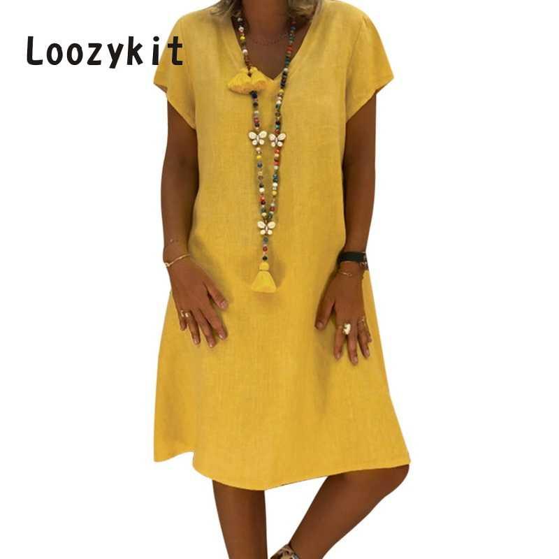 LOOZYKIT 2019 женское летнее однотонное платье с коротким рукавом модное сексуальное пляжное платье с v-образным вырезом Женская Повседневная Длинная Футболка Vestidos