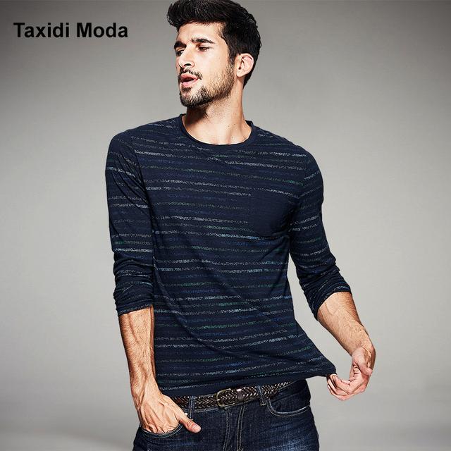 Outono mens t camisas casual 100% algodão listrado azul marca clothing magro manga comprida t-shirts roupa do homem tops mais tamanho