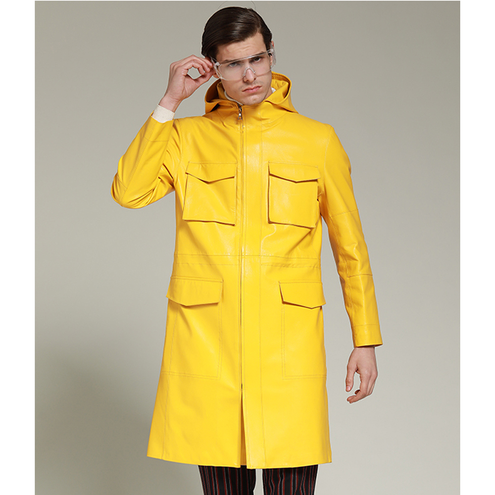 Fashion Bright Yellow Long Leather Jacket for Men Spring Autumn Genuine Leather Clothing Hooded Sheepskin Leather Coat