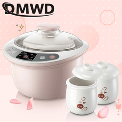 DMWD Intelligent Slow Cookers Electric timing Food Steamer 3 Liner 1.8L Ceramic multifunctional Water Stewing soup Porridge pots
