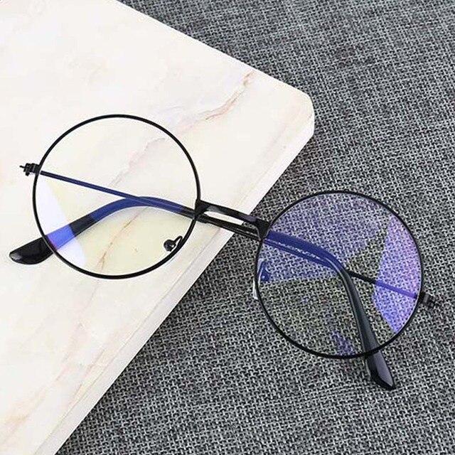 Rodada do vintage óculos de Armação de Metal Personalidade do Estilo Da Faculdade Limpar Lens Armações de Óculos de Olho azul-luz proteção para os olhos do jogo do telefone móvel