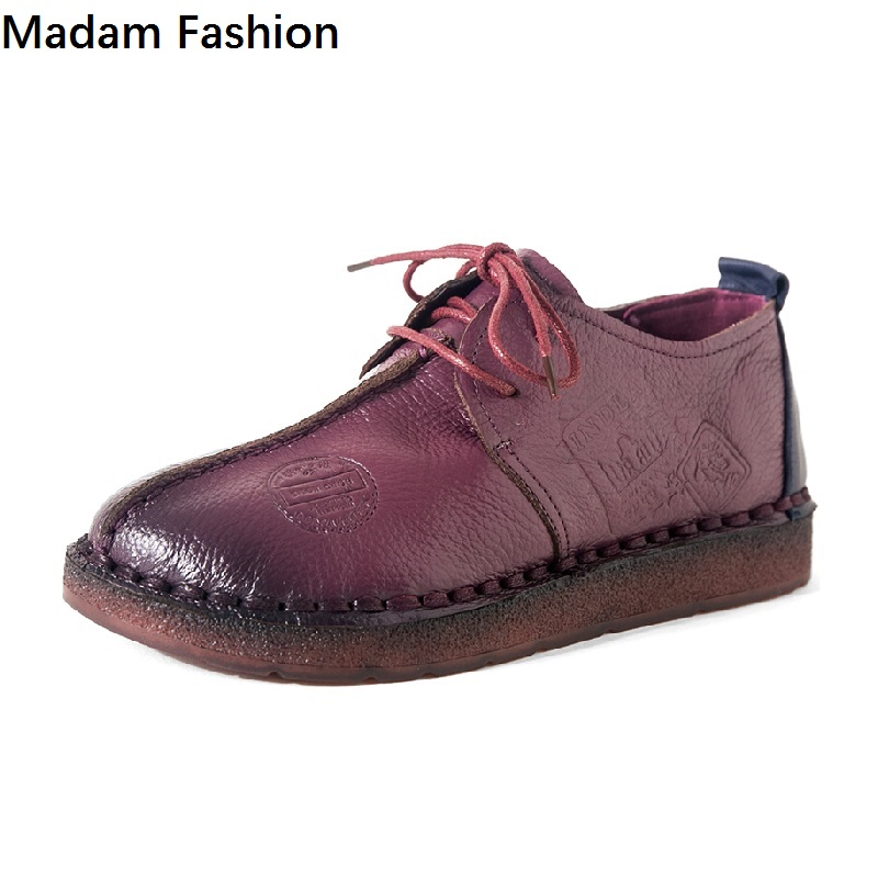 Madam Fashion Women's Handmade Shoes Genuine Leather flat shoes Woman Loafers Soft Comfortable Casual Shoes Women flats women flats new fashion women genuine leather flat shoes woman bow casual shoes comfortable soft outsole loafers women shoes