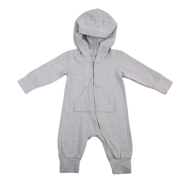 7f16ad6d1 Solid Autumn New Infant Toddler Baby Boys Girls Long Sleeve Hooded Romper  Jumpsuit Zipper Outfits Leggings Baggy Cute Clothing