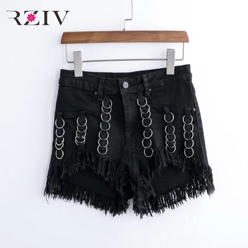 RZIV 2017 female jeans casual solid iron ring tassel decorated denim shorts ring denim jeans