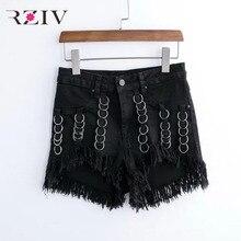 RZIV 2017 женские джинсы повседневная твердые железное кольцо кисточкой украшенные джинсовые шорты