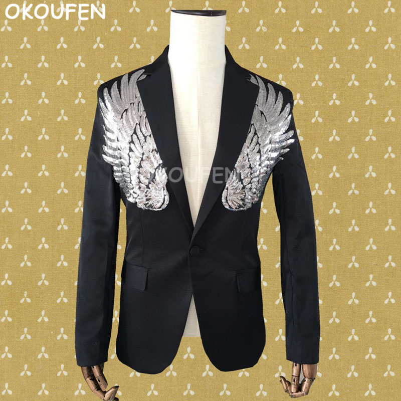 Nightclub Bar Male Sequin Slim Suit Costume Black gold wing print blazers Rock Male DS Show stage performance coat