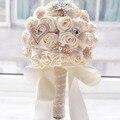 2016 на складе Потрясающие Свадебные цветы Белый Невесты Свадебные Букеты искусственные Розы Свадебный Букет FW139