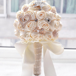 In stock stunning wedding flowers white bridesmaid bridal bouquets artificial rose wedding bouquet fw139.jpg 250x250