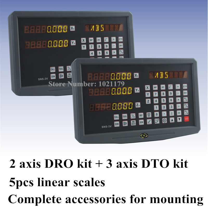 2 ensembles de Tour Moulin DRO Kit affichage numérique à 2 axes + lecture numérique 3 axes avec 5 pcs échelle linéaire pour EDM Fraiseuse de Tour