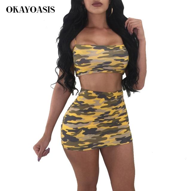 2018 Spaghetti Strap Sexy Two Piece Set Dress Women Yellow Camouflage  Sleevless Bandage Dress Streetwear Orange Backless Dress 6e9362fb6eba