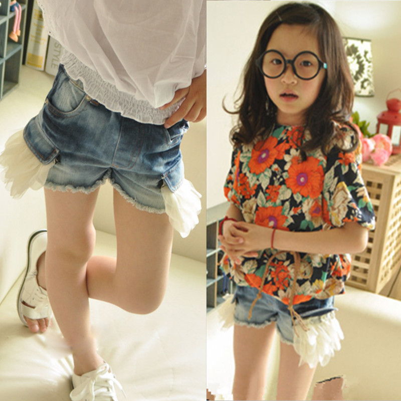 Online Shop denim and lace girls high waist jeans kids character ...