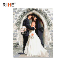 RIHE Kissing Couples Oil Painting By Numbers Romantic Wedding Cuadros Decoracion Acrylic Paint On Canvas For Artwork Modern Art