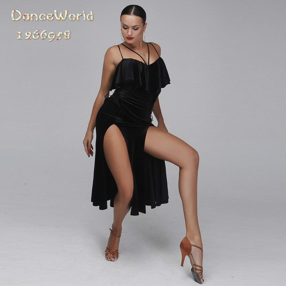 Robe de danse latine velours noir professionnel femme sexy robe salsa concours