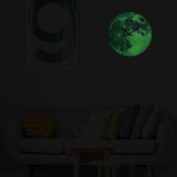 Brillan En Las Decoraciones Oscuras | Relojes De Pared Luminosos De Luna 2019 Nuevo Brillo En La Oscuridad Relojes De Cuarzo Circulares Decoración Del Hogar Decoración Del Dormitorio Regalos De Decoración Parede