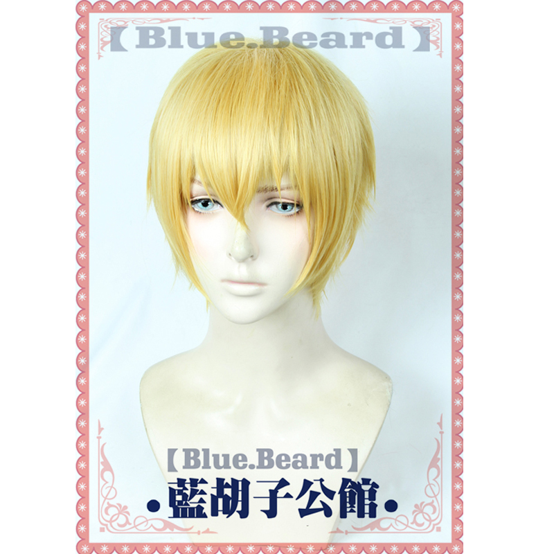 Fate/Stay Night Zero Gilgamesh Golden Wig Cosplay Short Synthetic Halloween Costume Wigs + Wig Cap