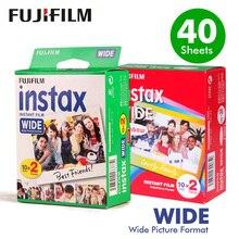 Fujifilm Instax borde blanco ancho + película arcoíris ancha para cámara de papel fotográfico instantánea Fuji 300/200/210/100, hojas, hojas