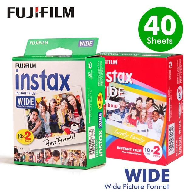 Genuine10.20.40 シーツ富士フイルムインスタックスワイド白エッジ + ワイドレインボーフィルムフジインスタント写真用紙カメラ 300/200/210/100