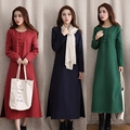 Autumn Winter Robe dress Chinese Style Cotton and Linen Add Wool Button Dress Loose and Comfortable Super Dress
