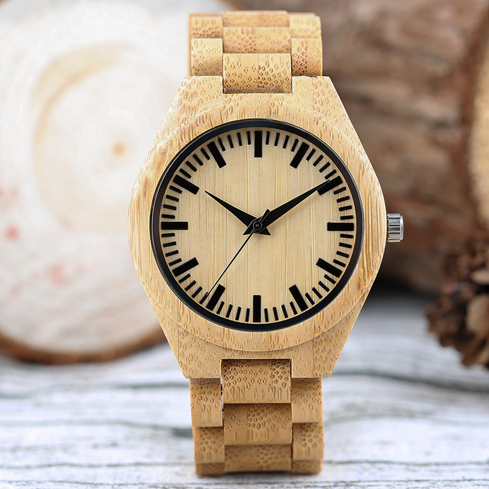 Novel Mens Wooden Wrist Watch Gift Creative Analog Bamboo Bangle Modern Nature...