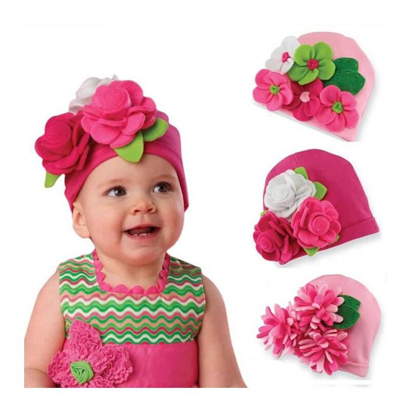 marca girls sombreros de invierno beb de la gorrita tejida caliente photography flor regalos de navidad