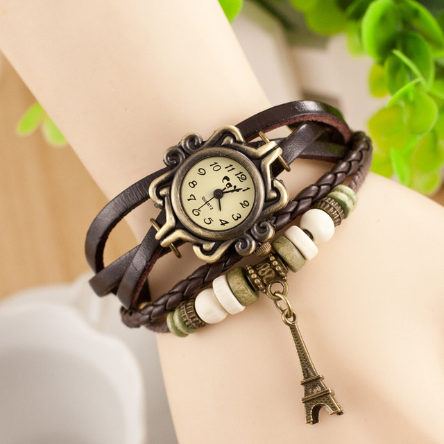 CAY Fashion Bracelet Watch Women Effiel Tower Pendant Vintage Digital Geneva Lea