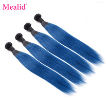 Mealid Peruvian Straight Hair Dark Roots 1b Blue 1b Red Bundles Ombre Hair Color Non-Remy Human Hair Weave Bundles(China)