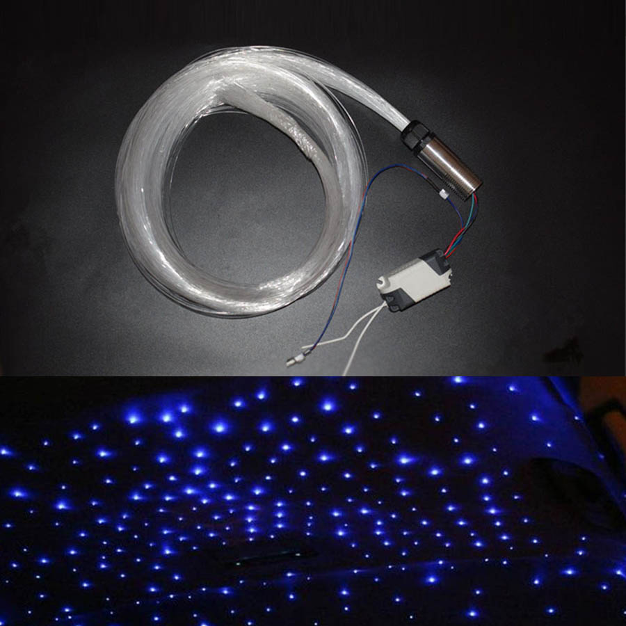 Car DC12V 3W RGB LED Fiber Optic Star Ceiling Light Kit 200pcs 0.75mm 2m optical