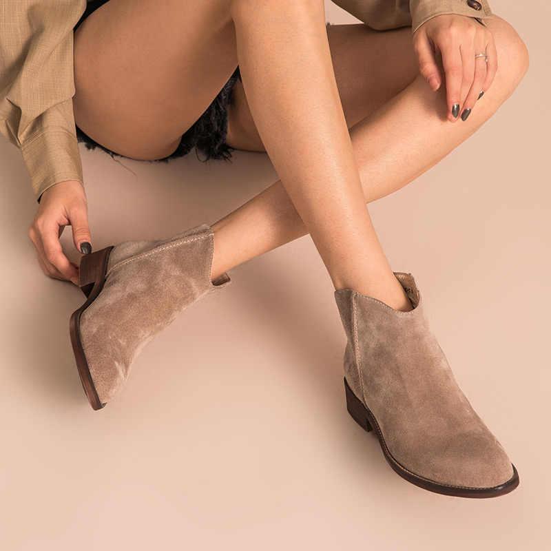 BeauToday Mắt Cá Chân Giày Nữ Chất Lượng Hàng Đầu Bò Da Lộn Khóa Kéo Thời Trang Thu Đông Nữ Da Thật Chính Hãng Da Giày Đế Bằng Thủ Công 03274
