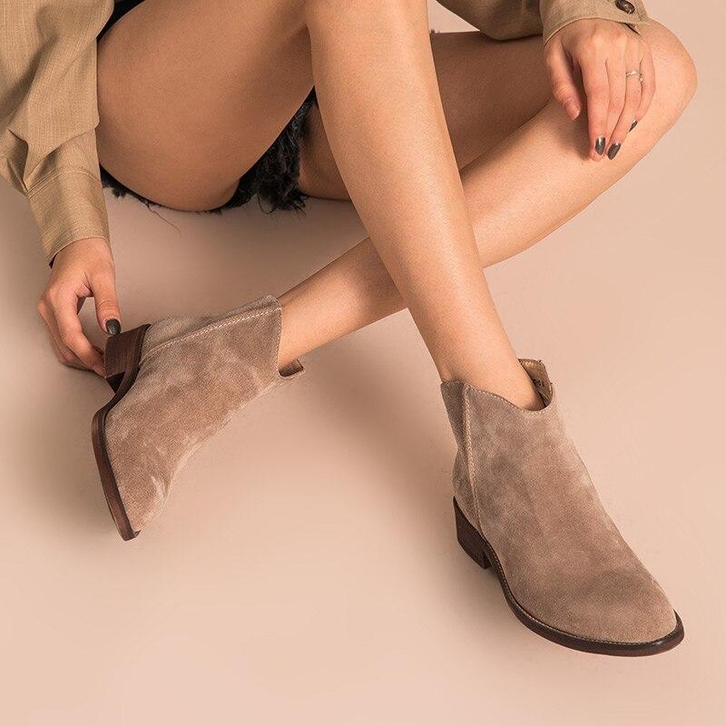 BeauToday حذاء من الجلد حقيقية جاكيت جلدي جودة سستة الخريف الشتاء أزياء سيدة البقر حذاء من الجلد المدبوغ اليدوية 03274-في أحذية الكاحل من أحذية على  مجموعة 2