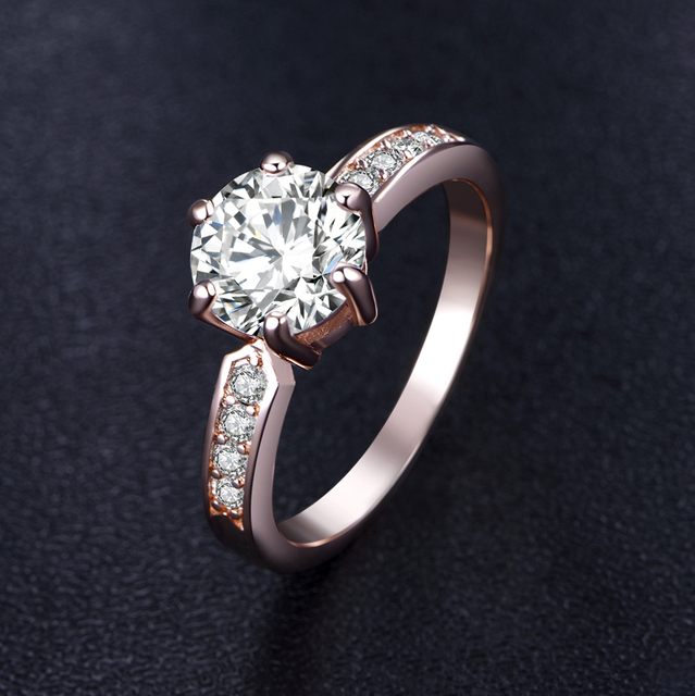 Rose Gold Color 2CZ Zircon Ring