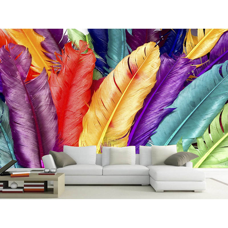 Background Colorful Room: Modern Wallpaper Colorful Feathers Wallpaper 3D For Living