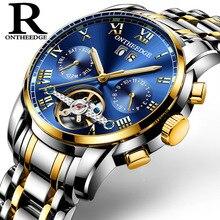 Мужские часы ontheedge брендовые Роскошные Синие мужские часы механические Автоматические часы браслет для мужчин Tourbillon многофункциональные