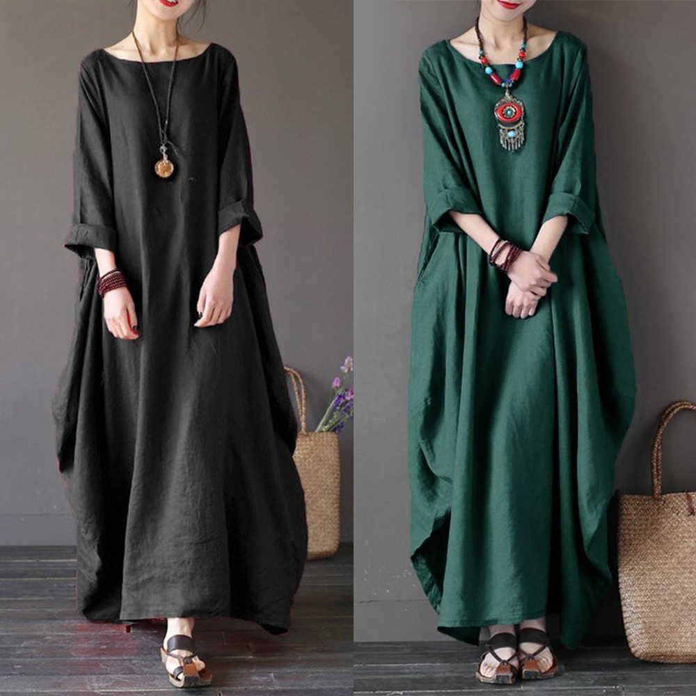 ffd24e719ba58 2019 Spring Elegant Maxi Dress For Wome Long Sleeve Loose Kaftan Dresses O  Neck Summer Female Clothes Casual Vestidos Plus Size