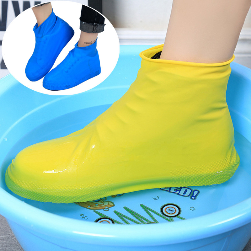 Rain Shoe Cover Waterproof Rubber Anti Slip Rain Boot Overshoes Raincoat Reusable Silicone Insoles Shoes Outdoor Camping Tools