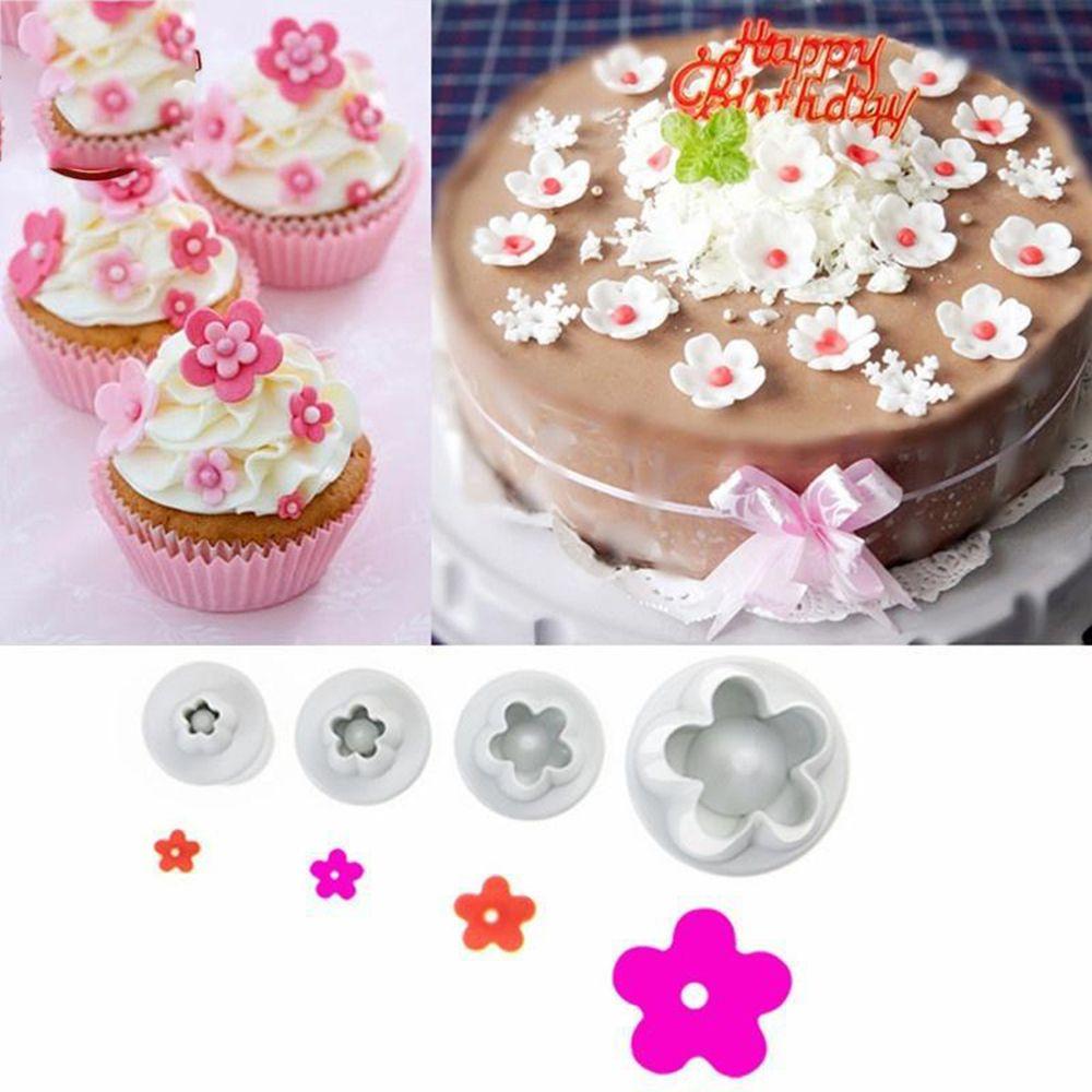 4Pcs Set Flower Plastic Cake Mold Diy Baking Tool Dessert Decorators Plum Sugarcraft Fondant Cake Moulds Cake Decorating Tools in Cake Molds from Home Garden