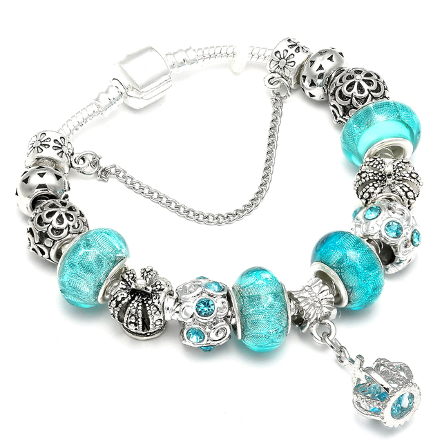 4cd90cc31518 Fashion Blue Water Drop Charm Pandora Bracelet Crown Brads Bracelets For  Women DIY Wedding Party Jewelry Gift