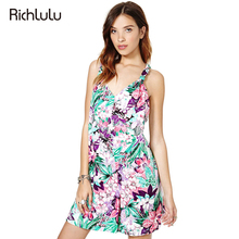 RichLuLu Floral Print Basic Playsuits Women V-neck Sleeveless Camis Romper Ladies Casual Sexy Street Style Summer Jumpsuit