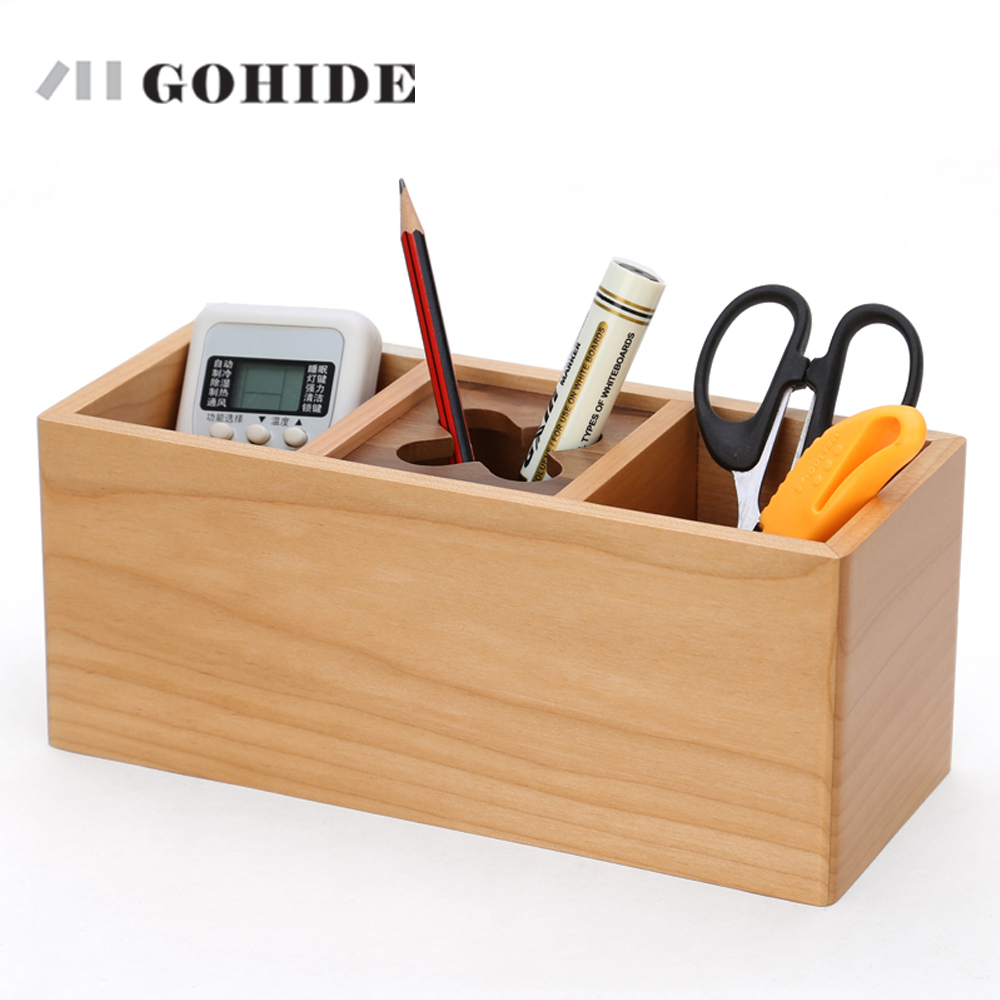 JUH Office Pen Holder Natural Wooden Pen Box In 3-grids Desk Organizer Pencil Stand Simple Style Pen Stand Stationery Container