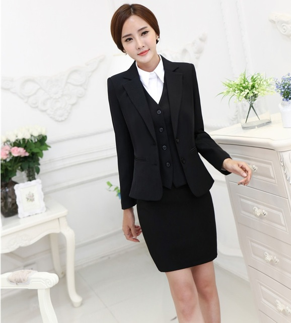 Plus Size Formal OL Styles Fashion Autumn Winter Professional Business Suits 3 pieces Jackets + Skirt + Vest Ladies Blazers