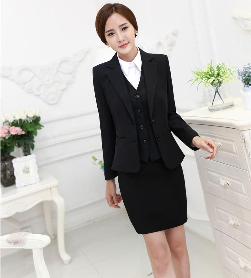 Plus Size Formal OL Styles Fashion Autumn Winter Professional Business Suits 3 pieces Jackets + Skirt + Vest Ladies Blazers
