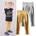 Caliente Nueva Moda de Invierno Niños Niñas Brillante Flaco Leggings Bebé Otoño Pantalones Calientes Sólidas 4-24 M Del Bebé Del Niño pantalones de Oro Plata