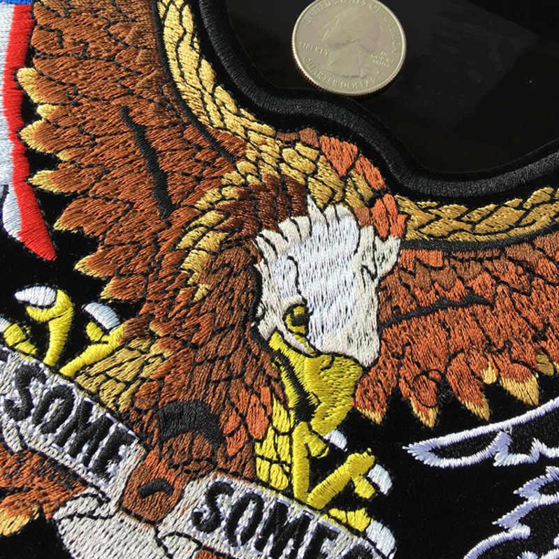 PGY 고품질 23x15CM 미국 독수리와 깃발 재킷을위한 작은 1 개의 자수 헝겊 조각 뒤 조끼 기관 자전차 클럽 자전거 타는 사람 아플리케